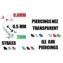 Piercing nez transparent bio flexible strass fin