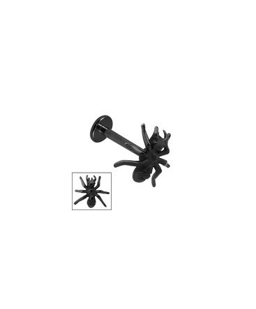 piercing labret levre araignee acier noir