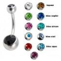 Piercing nombril double strass en acier chirurgical